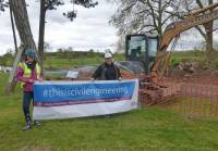 "Maia Jones of WM Longreach promoting the ""This is Civil Engineering..."" campaign with Katherine Alker, Parks Manager at Croome Park, Worcestershire"
